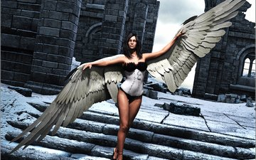 ladder, girl, look, wings, rendering, angel, hair