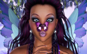 eyes, girl, look, butterfly, wings, rendering, fairy, hair, face, hands, earrings, braids