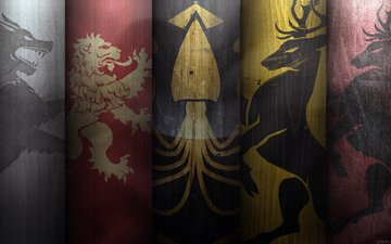 deer, octopus, coat of arms, leo, wolf, game of thrones, a song of ice and fire, the war of the five kings
