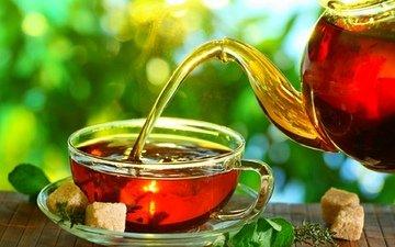 мята, чай, чайник, кусочки, сахар, заварка, циновка
