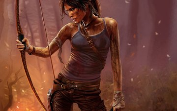 dirt, girl, weapons, profile, bow, the game, face, the fire, lara croft, tomb raider