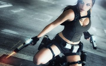 girl, weapons, look, hair, the game, face, backpack, guns, mike, lara croft, tomb raider, charly brusseau