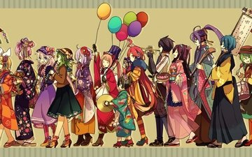 art, girls, vocaloid, megurine luka, kagamine rin, ia, kagamine len, kaito, meiko, yuzuki yukari, akiyoshi, tama-pete, gumi, kaai yuki, kamui gakupo, mizki, nekomura iroha, vy2, miki, hatsune miku