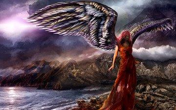 небо, вода, горы, скалы, тучи, девушка, море, фантастика, крылья, ангел, океан, красное платье, vitaly s. alexius