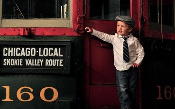 поезд, мужчина, кепка, галстук