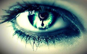 космос, девушка, макро, звезды, луна, глаз, зрачок, ресницы