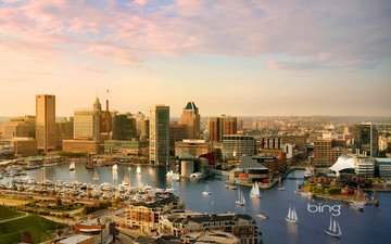 river, view, the city, bing, baltimore