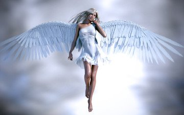 girl, background, blonde, look, wings, rendering, angel, face, hands