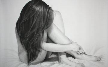 поза, ноги, кровать, живопись, тело, карандаш, длинные волосы