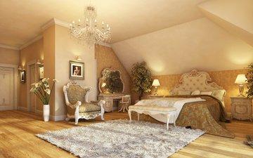 свет, интерьер, зеркало, комната, картины, люстра, кресло, паркет, лампы, коврик, спальня. кровать