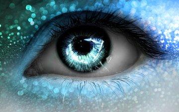 макро, глаз, голубые, огоньки, ресницы
