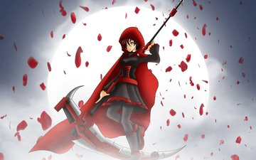art, night, girl, weapons, look, the moon, anime, braid, rwby, ruby