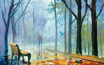 деревья, листья, девушка, люди, осень, парень, пара, живопись, лавочка, leonid afremov