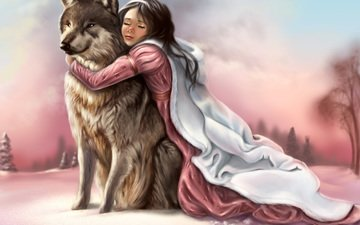 face, the sky, art, snow, winter, girl, paws, look, predator, traces, animal, hands, painting, wolf, closed eyes, pink dress, hugs