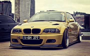 tuning, bmw, e46, stance, gold, m3