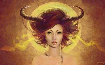 art, girl, background, look, hair, horns, demoness