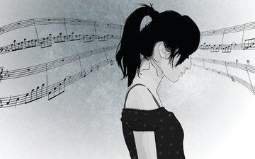 девушка, вектор, ноты, музыка, профиль, волосы, лицо, хвостик