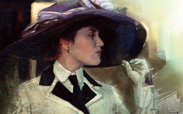 art, girl, painting, hat, gloves, kate winslet, titanic, rose, dewitt, bukater