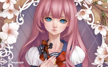 art, girl, background, violin, look, dong xiao