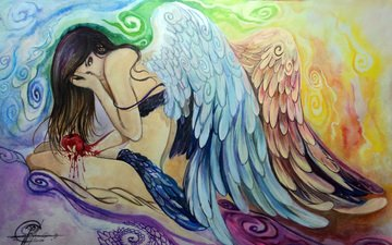 girl, pose, look, wings, angel, sitting, hair, face, hands, painting