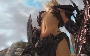 girl, weapons, blonde, view, the game, body, the elder scrolls v-skyrim
