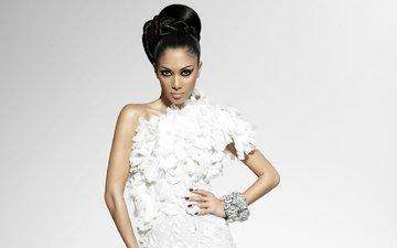 pose, look, hair, hairstyle, white dress, bracelets, nicole scherzinger, manicure