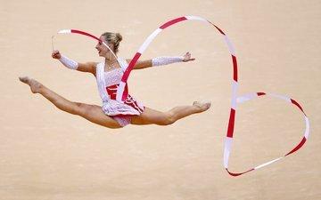 девушка, спорт, гимнастика, упражнения
