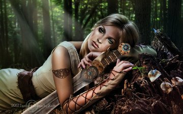 trees, forest, girl, weapons, sword, fiction, look, hair, hands, green eyes