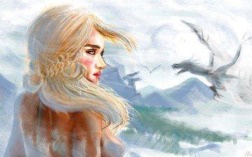 art, girl, dragon, wings, painting, game of thrones, emilia clarke, daenerys targaryen
