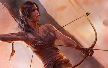 dirt, weapons, blood, bow, clothing, lara croft, tomb raider