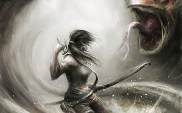 art, girl, weapons, monster, bow, lara croft, arrows, tomb raider