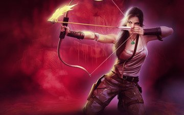 art, girl, background, weapons, look, fire, bow, hair, arrow, face, mike, lara croft, aiming, ponytail, tomb raider
