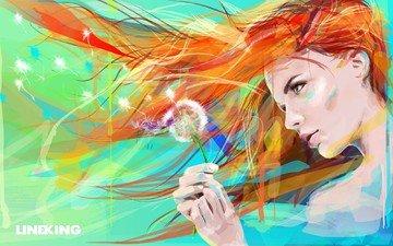 глаза, арт, рисунок, девушка, цветок, краски, волосы, лицо, одуванчик, живопись