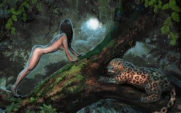 свет, деревья, девушка, поза, ветки, лежит, леопард, грудь, животное, живопись, джунгли, голая