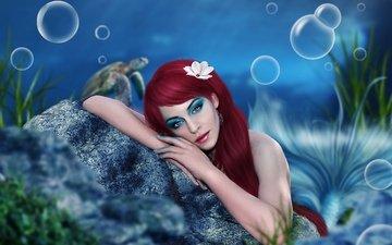 глаза, арт, вода, девушка, взгляд, океан, камень, лицо, руки, макияж, пузырьки, хвост, русалка, задумчивость, красные волосы