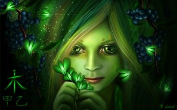 eyes, art, girl, look, face, berries, butterfly, character, spider, web, lilok-lilok