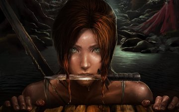eyes, art, water, drops, look, face, knife, lara croft, tomb raider, frankiew yip