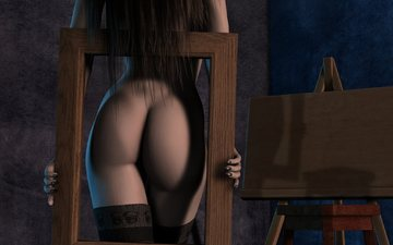 девушка, попа, рендеринг, спина, чулки, волосы, руки, рамка, длинные