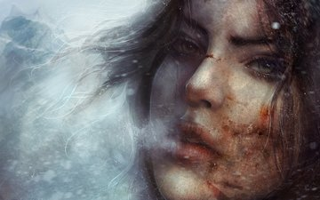 eyes, art, snow, winter, girl, look, cold, lips, the game, face, couples, lara croft, anomaly, tomb raider