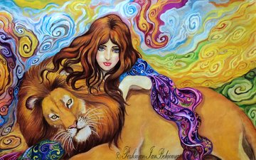 eyes, art, abstraction, hand, girl, background, look, predator, hair, face, animal, leo, mane, painting