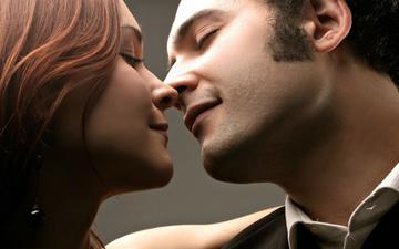 девушка, парень, любовь, лица, поцелуй, влюбленная