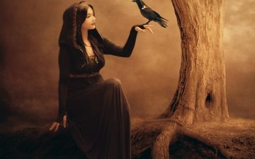 art, tree, hand, girl, dress, fiction, profile, bird, witch, face, raven, makeup, jennifer gelinas