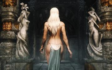 temple, girl, blonde, back, statues, the elder scrolls v - skyrim