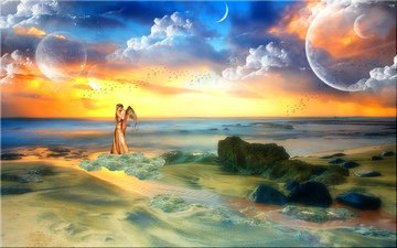 the sky, clouds, stones, girl, sea, horizon, fiction, guy, planet, people, wings, birds, angel, the ocean, love, hug
