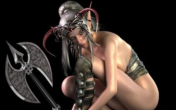girl, look, rendering, black background, axe, horns