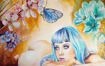 цветы, девушка, взгляд, бабочка, лежит, попа, лицо, руки, живопись, синие волосы, christina papagianni