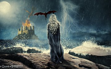 night, girl, flight, castle, the moon, dragon, fire, wings, back, rain, fortress, the storm, the series, game of thrones, daenerys targaryen