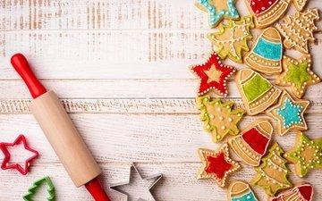 фигурки, печенье, выпечка, новогоднее, елочная, baking