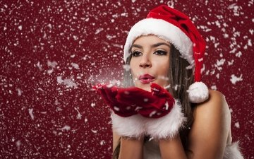 снег, девушка, настроение, лицо, макияж, праздник, елочная