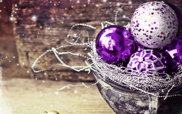 new year, balls, christmas, purple, 2016, decorations
